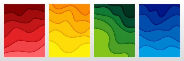 Conjunto de fondo abstracto en 3d y formas de corte de papel Vector Premium