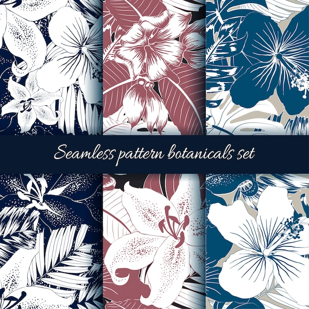 Conjunto de fondo abstracto botánico de patrones sin fisuras. Vector Premium