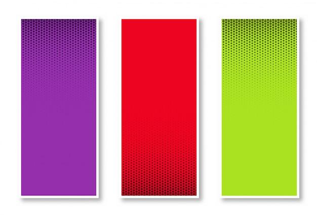 Conjunto de fondo de banner vertical de semitono en tres colores hermoso diseño vector gratuito