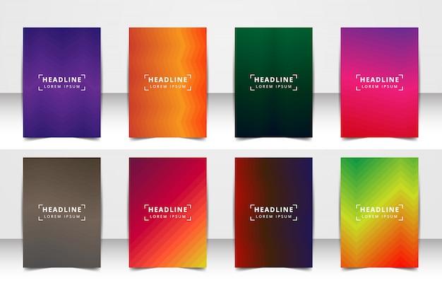 Conjunto de fondo de diseño vectorial abstracto. para el diseño de plantillas de arte, lista, portada, estilo de tema de folleto de maqueta, pancarta, idea, portada, folleto, impresión, folleto, libro, en blanco, tarjeta, anuncio, letrero, hoja, a4. Vector Premium