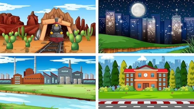 Conjunto de fondo de escenas de fondo de pantalla diferente vector gratuito