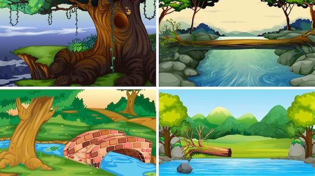 Conjunto de fondo de escenas de selva vector gratuito