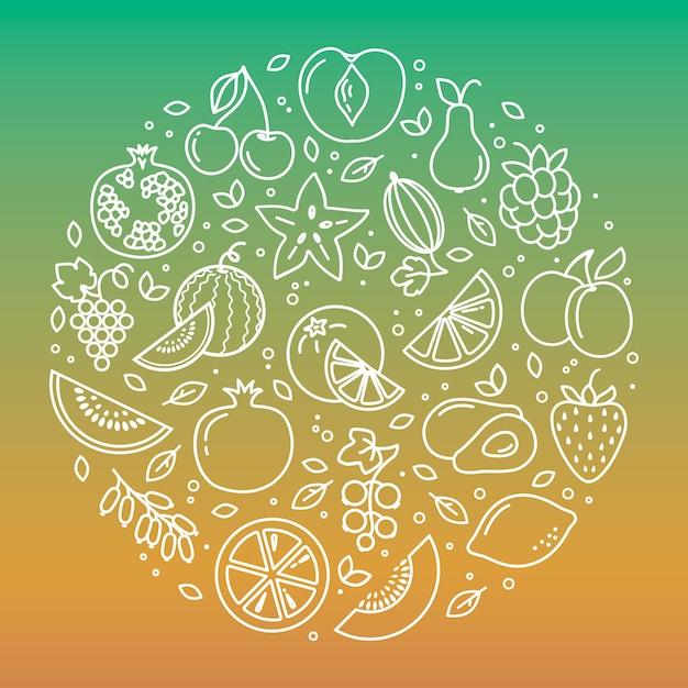 Conjunto de fondo de ilustración de iconos de frutas y verduras en forma circular Vector Premium