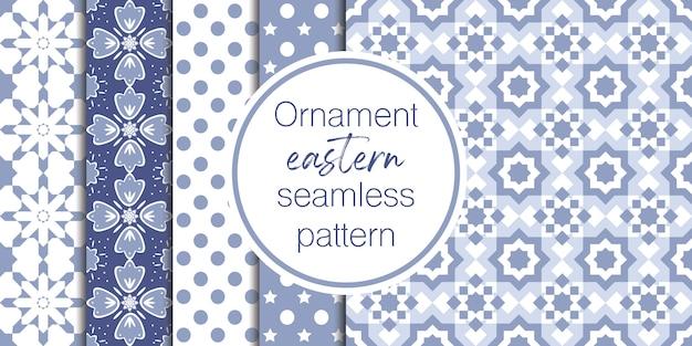 Conjunto de fondo ornamental y geométrico Vector Premium
