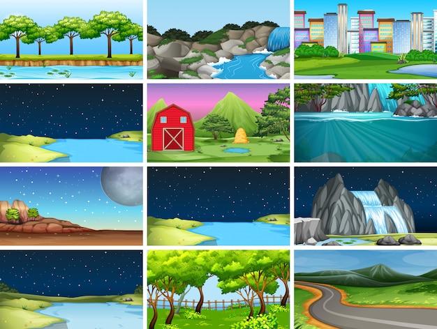 Conjunto de fondo de paisaje de naturaleza vector gratuito