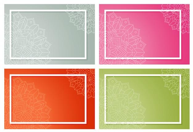Conjunto de fondo con patrones de mandala vector gratuito