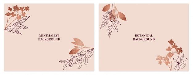 Conjunto de fondos florales minimalistas de oro rosa. Vector Premium