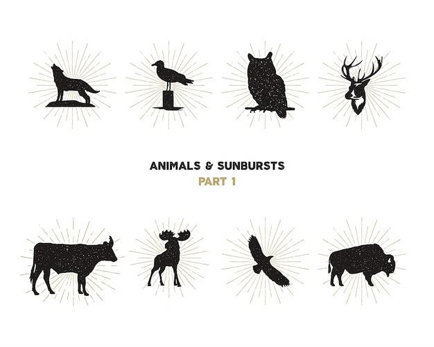 Conjunto de formas de animales salvajes. animales silueta Vector Premium