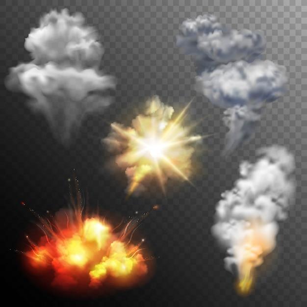 Conjunto de formas de explosiones de fuegos artificiales vector gratuito