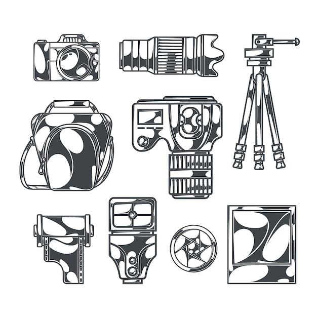 Conjunto de fotografía con imágenes monocromas aisladas de cámaras réflex digitales con accesorios y trípodes vector gratuito