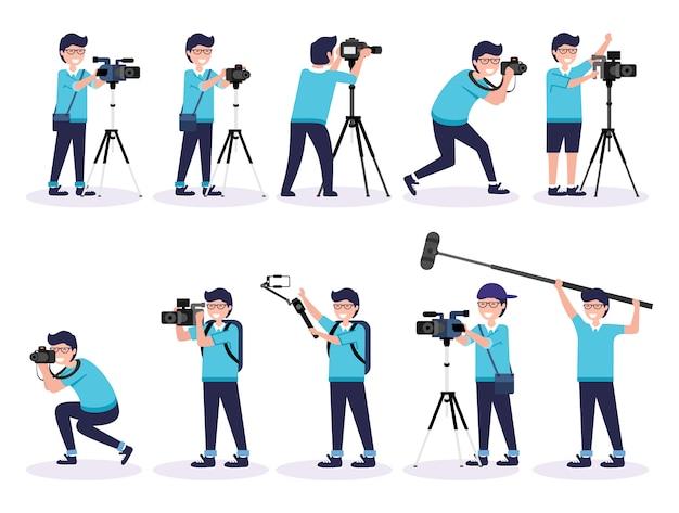 Conjunto de fotógrafo masculino y camarógrafos trabajando ilustración premium vector Vector Premium
