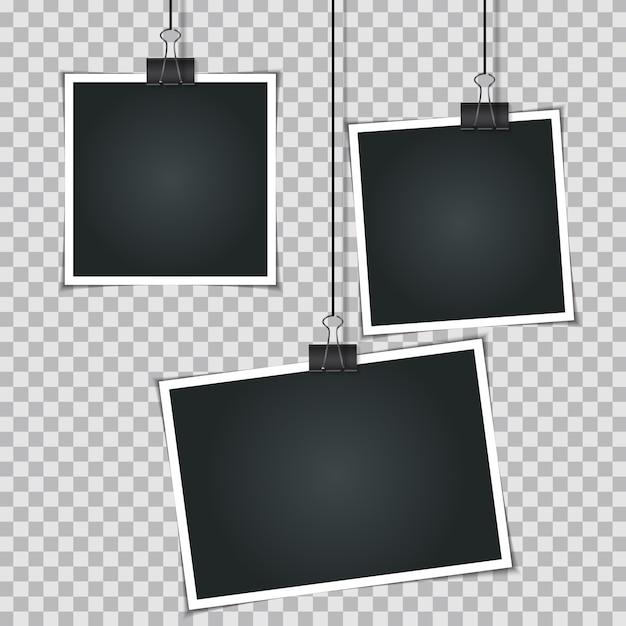 Conjunto de fotos instantáneas en blanco Vector Premium