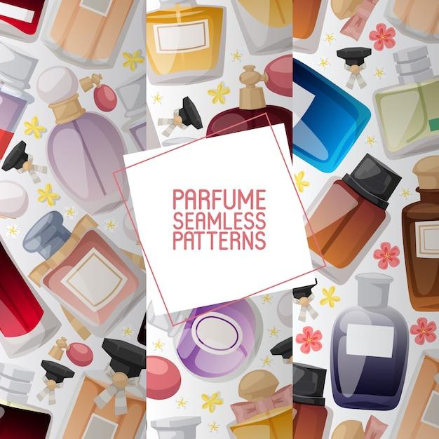 Conjunto de frascos de perfume con flores conjunto de patrones sin fisuras Vector Premium
