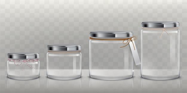 Conjunto de frascos de vidrio transparente vector para el almacenamiento de productos alimenticios, conservas y conservación, vector gratuito