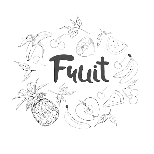 Conjunto de frutas de doodle dibujado a mano. comida fresca y sabrosa. Vector Premium