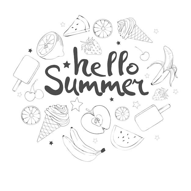 Conjunto de frutas doodle dibujados a mano Vector Premium