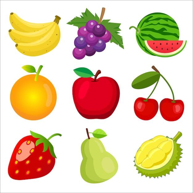 Conjunto de frutas para niños aprendiendo palabras y vocabulario. Vector Premium