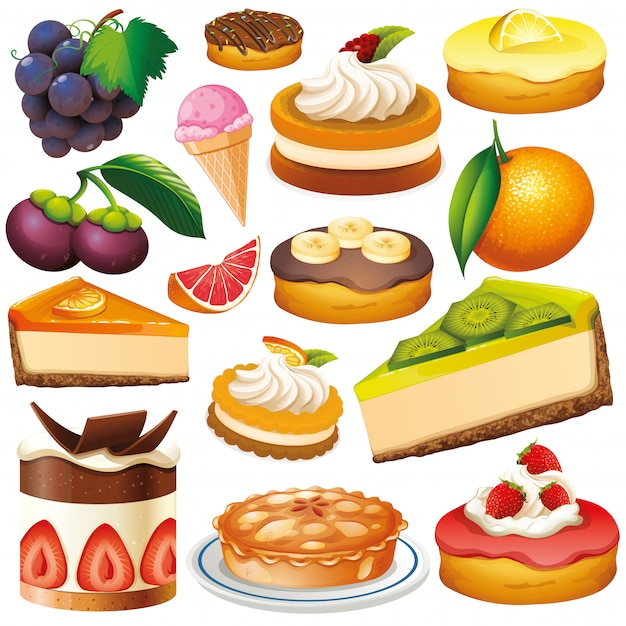 Conjunto de frutas y postres aislados vector gratuito
