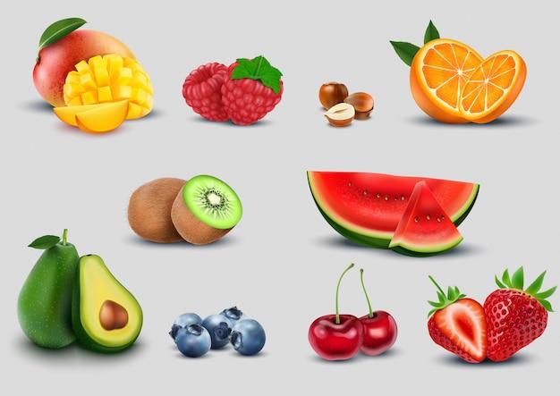 Conjunto de frutas sobre fondo blanco Vector Premium