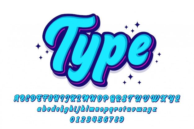 Conjunto de fuente elegante script con estilo retro Vector Premium