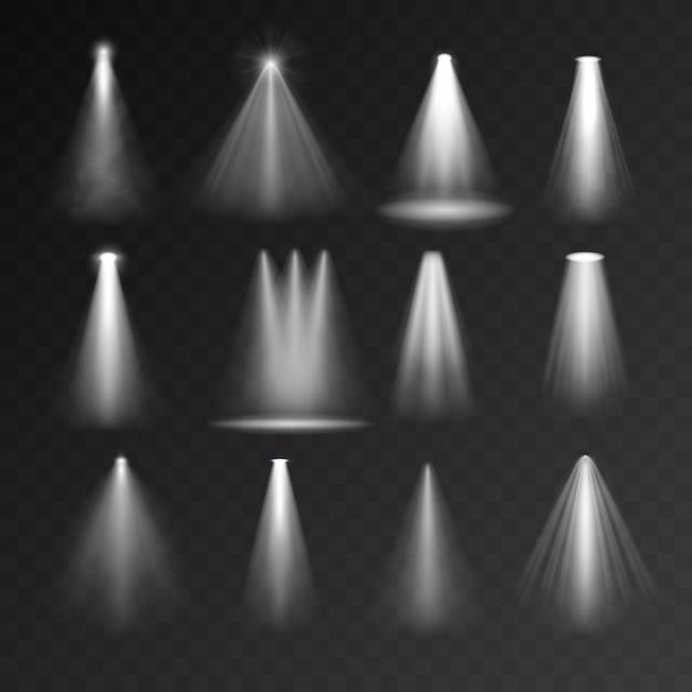 Conjunto de fuentes de luz Vector Premium