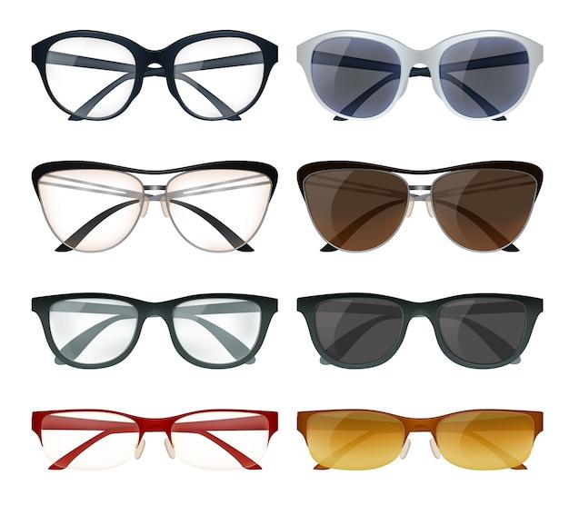Conjunto de gafas modernas vector gratuito