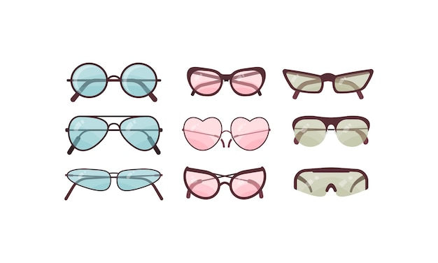 Conjunto de gafas de sol de colores. colección de monturas de plástico para gafas. protección solar de verano. Vector Premium