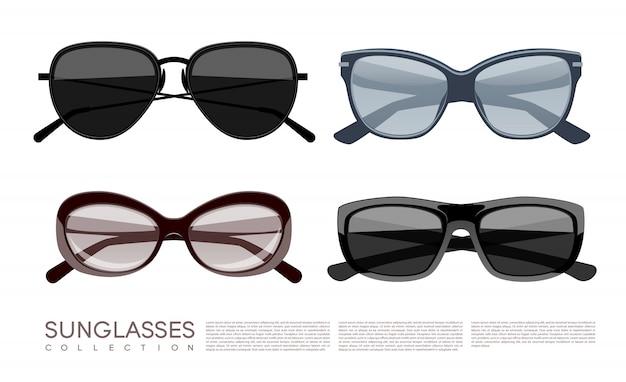 Conjunto de gafas de sol con estilo de moda moderno vector gratuito