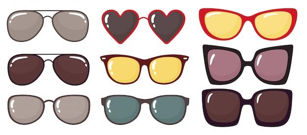 Conjunto de gafas de sol de moda. Vector Premium