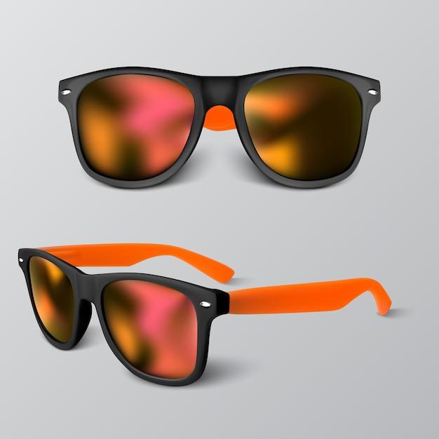 Conjunto de gafas de sol realistas con lente roja sobre fondo gris. ilustración. Vector Premium