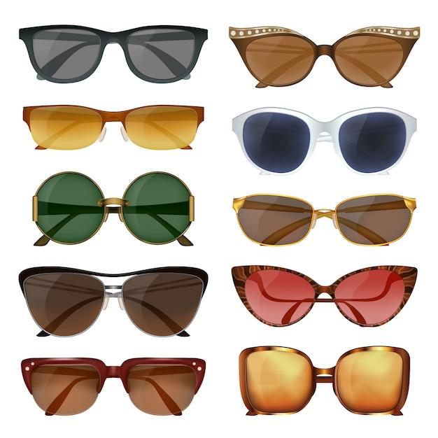 Conjunto de gafas de sol de verano vector gratuito