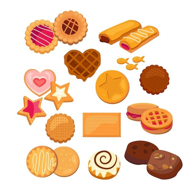 Conjunto de galletas deliciosas vector gratuito