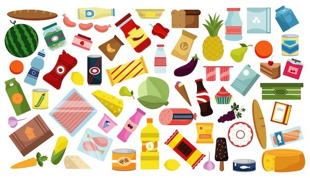 Conjunto de garabatos de comida dibujados a mano. colección de dibujos animados coloridos dibujos bocetos plantillas de maquetas de alimentos, bebidas, frutas y verduras sobre fondo blanco. ilustración de nutrición saludable y comida chatarra. Vector Premium