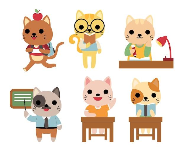 Conjunto de gatos graciosos en la escuela estudiando, enseñando vector gratuito