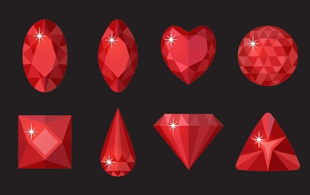 Conjunto de gemas rojas. joyas, colección de cristales aislado sobre fondo negro. rubíes, diamantes de diferentes formas, tallados. piedras preciosas rojas de colores. estilo de dibujos animados realista. ilustración, clip art Vector Premium