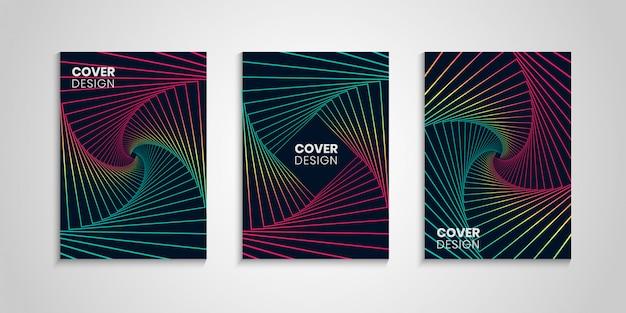 Conjunto geométrico de cubiertas coloridas Vector Premium