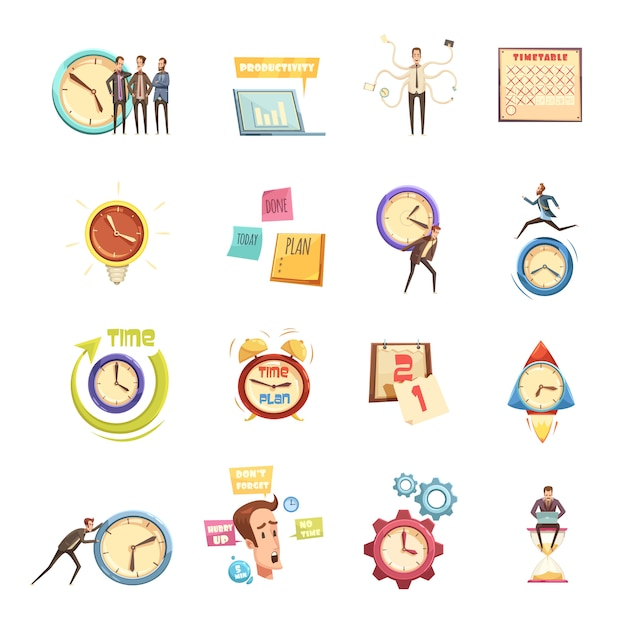 Conjunto de gestión de tiempo de iconos de dibujos animados retro con hombre de prisa planificación productividad calendario de inicio vector gratuito