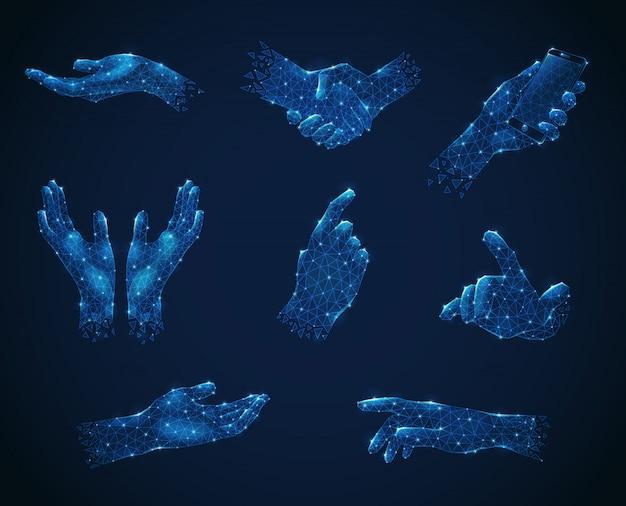 Conjunto de gestos con las manos en azul luminiscente poligonal estilo de estructura metálica vector gratuito