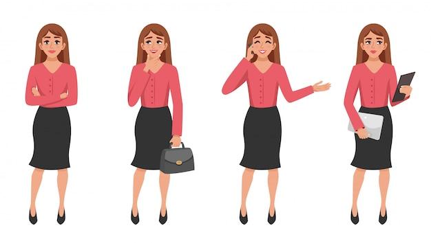 Conjunto de gestos de mujer de dibujos animados vector gratuito