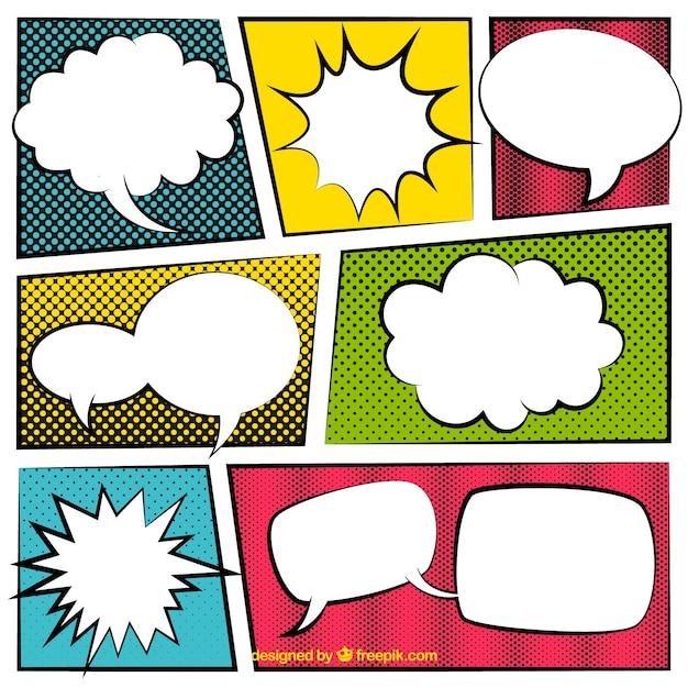 Conjunto De Globos De Diálogo Con Viñetas De Comic Vector