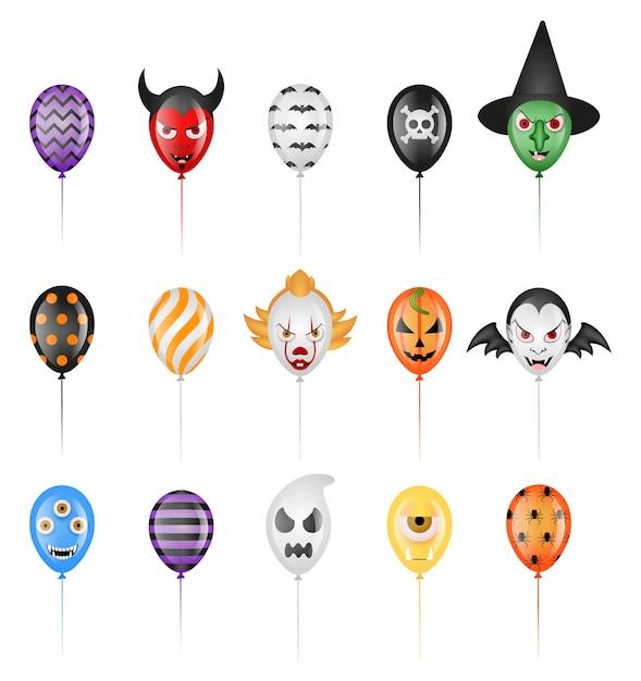 Conjunto de globos de fiesta de halloween aislados Vector Premium