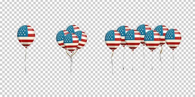 Conjunto de globos realistas con bandera americana para decoración y revestimiento en el fondo transparente. Vector Premium
