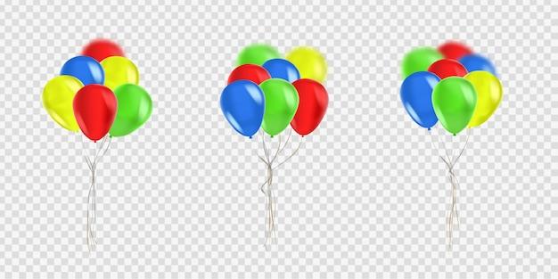 Conjunto de globos realistas para celebración y decoración en el fondo transparente. concepto de feliz cumpleaños, aniversario y boda. Vector Premium