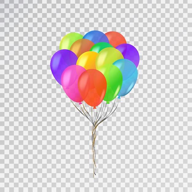 Conjunto de globos realistas para celebración y decoración en el fondo transparente. Vector Premium