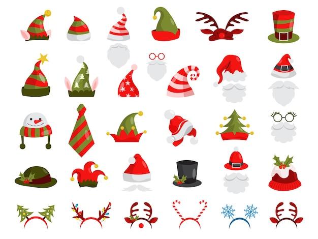 Conjunto de gorro de navidad. colección de decoración de santa claus para fotomatón. concepto de fiesta navideña. ilustración Vector Premium