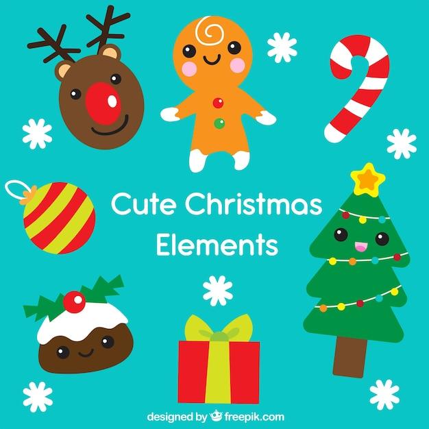Conjunto gracioso de elementos de navidad vector gratuito