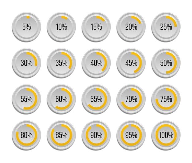 Conjunto de gráficos circulares de porcentaje infográfico aislado Vector Premium