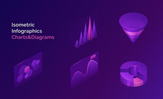 Conjunto de gráficos y diagramas de infografía isométrica vector gratuito