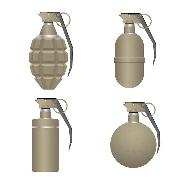 Conjunto de granada de mano realista aislada Vector Premium