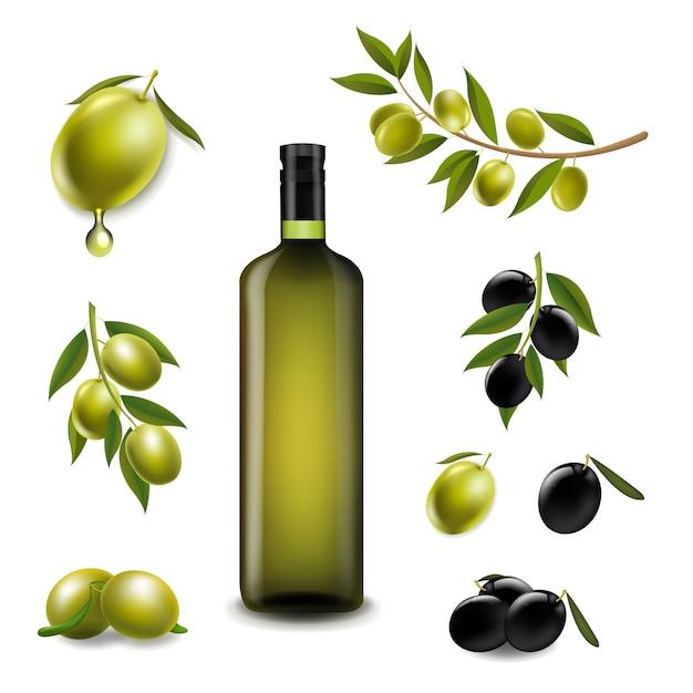 Conjunto grande con aceitunas de rama y con aceite de oliva virgen en  botella de vidrio